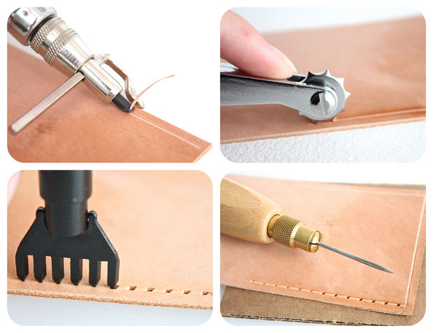 Create stitching pattern on leather