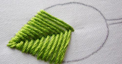 Hand Embroidery Stitches - Fishbone Stitch