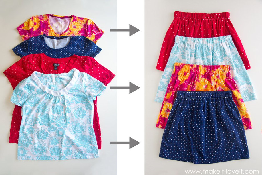 Sewing projects for kids #31 - Skirts made from shirts