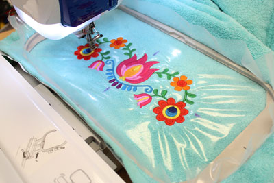 Embroidery with stabilizer