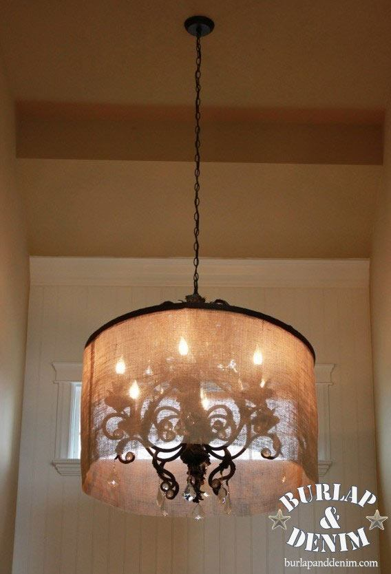 Burlap Decorating Ideas #4: Barrel Shade For Chandelier