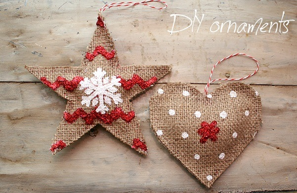 Burlap Decorating Ideas #5: Burlap Christmas Ornaments