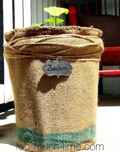 Burlap Decorating Ideas #25: Burlap Flower Pot