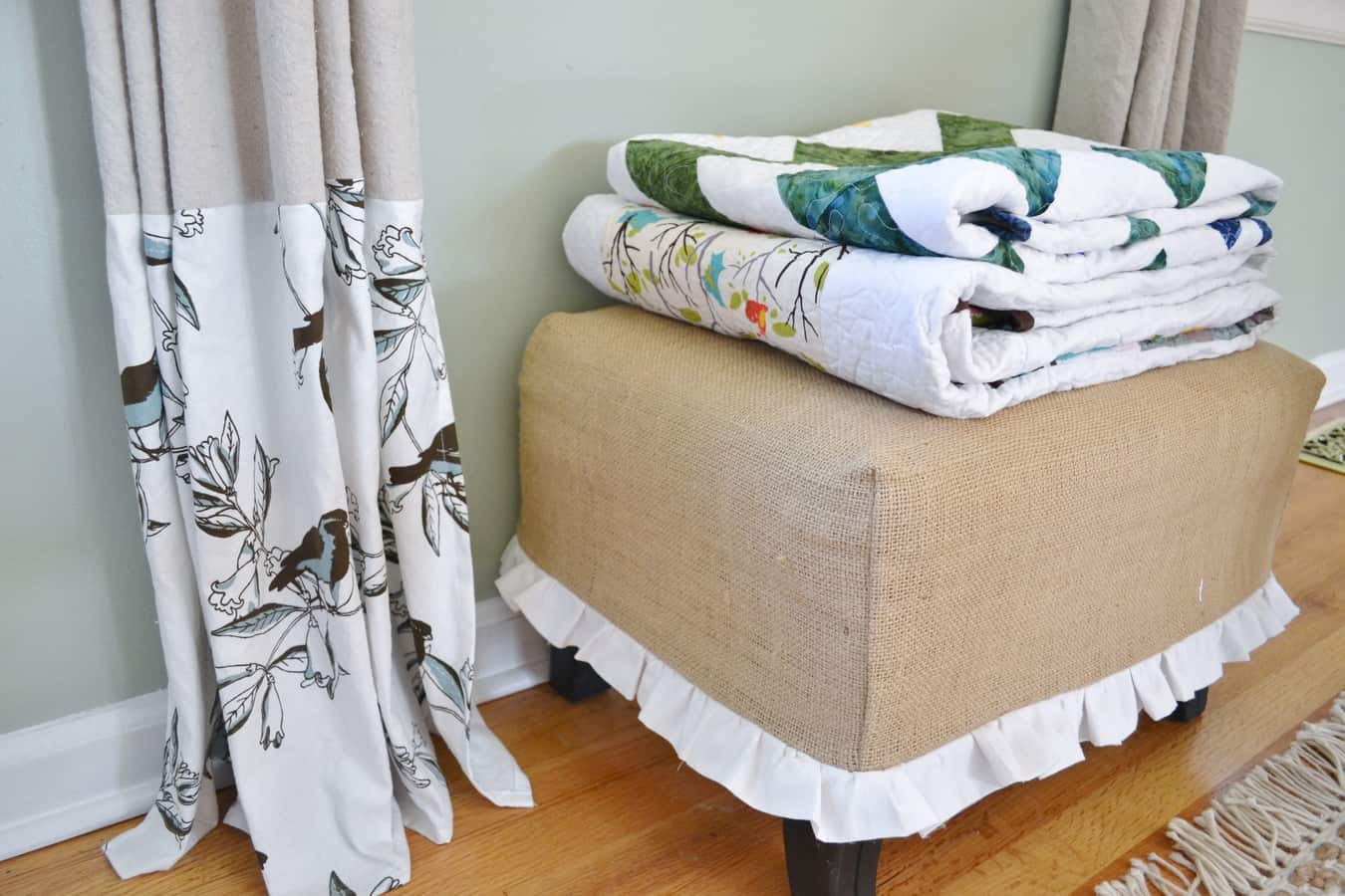 Burlap Decorating Ideas #1: Burlap Ottoman Cover