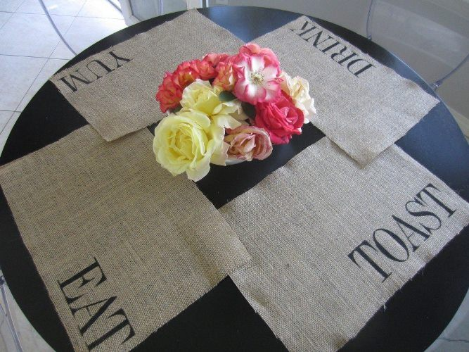 Burlap Decorating Ideas #6: Burlap Stenciled Placemats