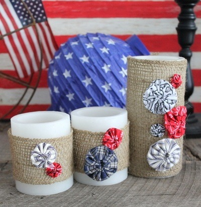 Burlap Decorating Ideas #22: Yo-yo Burlap Candle Wraps